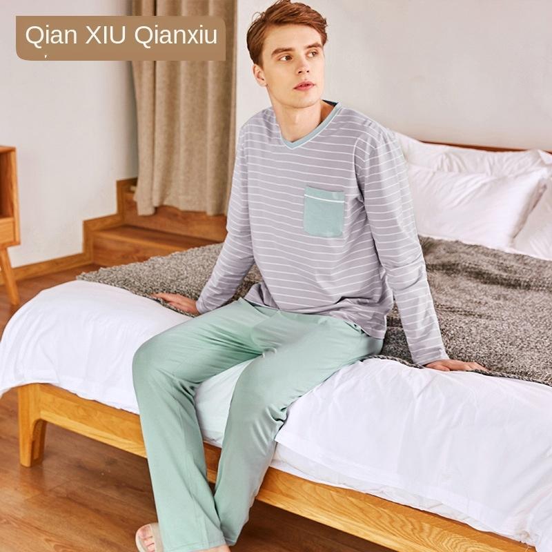 Frühling und Herbst neue Baumwolle Nachthemd Anzug lässig einfachen Männer mit langen Ärmeln Schüler nach Hause tragen zweiteilige Pyjamas Pyjamas gerade
