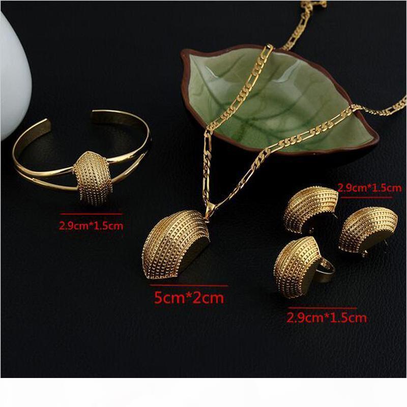 Novos conjuntos de jóias etíopes 14K real sólido amarelo ouro GF barco Moda Africano semicírculo brincos de pingente cadeia pulseira anéis