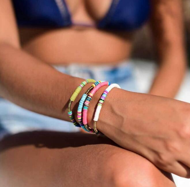Boho Multicolored Polymer Clay Beads Stretch Bracelets Women Girl 2020 New Fashion Bohemian Beach Holiday Rainbow Charm Bracelet Jewelry