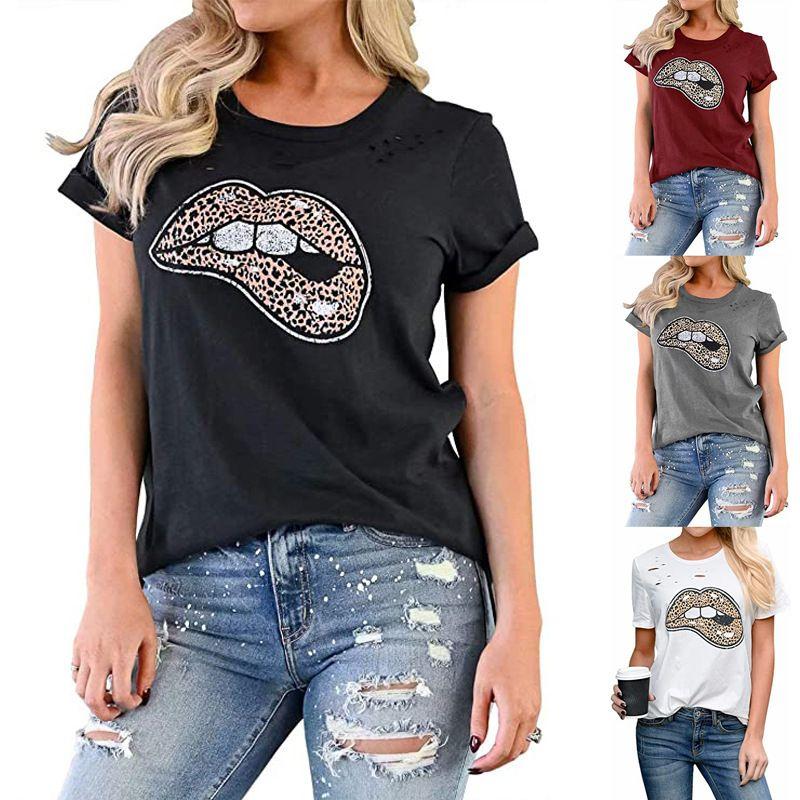 2020 floral de Mujeres top estampado leopardo de la impresión del labio cuello redondo manga corta camiseta el envío gratuito