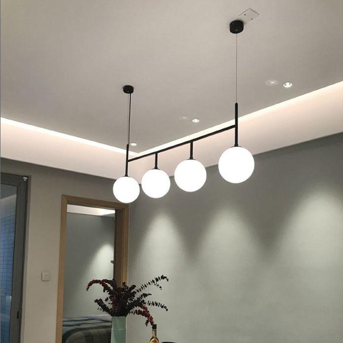 ecoration 펜던트 램프 이닝 룸 현대 유리 볼 펜던트 조명기구 홈 실내 빛 매달려 정지