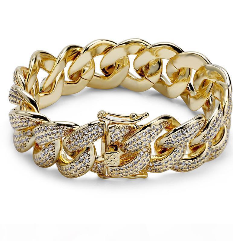 Designer del braccialetto dei monili di Hip Hop degli uomini ghiacciato fuori il braccialetto di Bling Bracciali tennis diamante di lusso del braccialetto di amore fascino cubano accessori link a catena