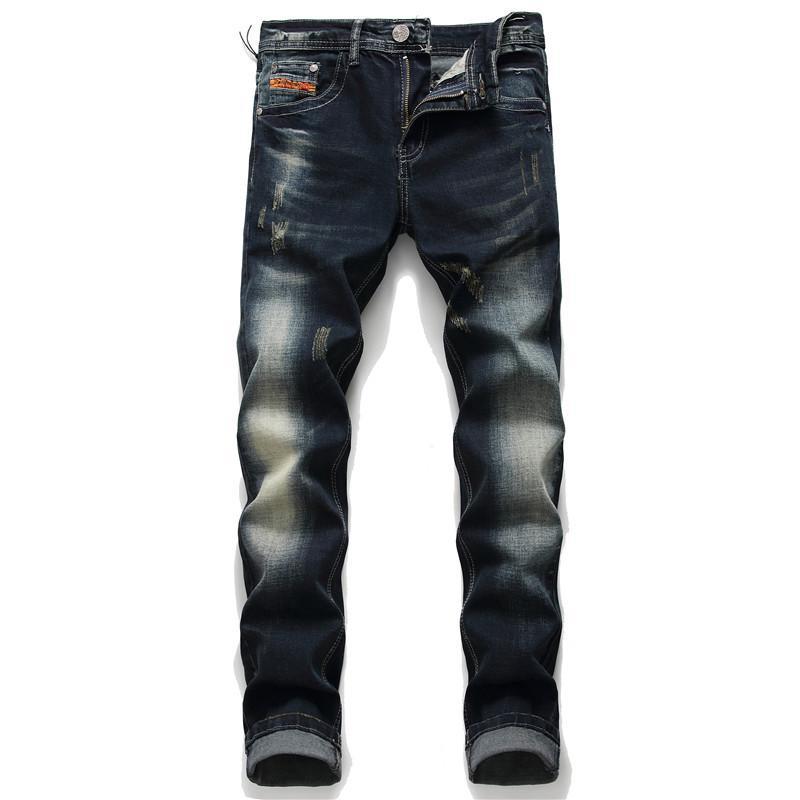 2020 Desail Streetwear Hip Hop Streç Delik Düz Rozeti Pantolon Patlayıcı Metal Işlemeli Yıkanmış Eski Vintage Kot Uzun Pantolon