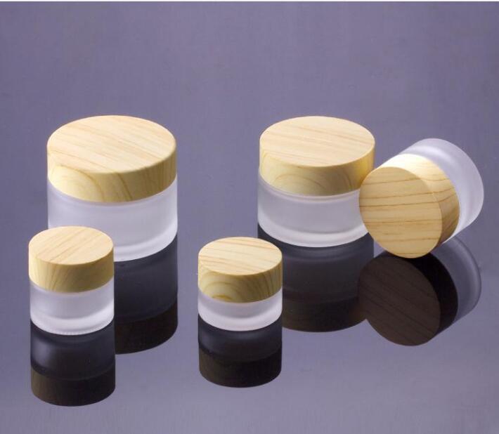 Pot en verre givré crème Bouteilles ronde cosmétique Jars Bouteille Crème Visage mains 5G-10g-15g-30g-50g Jars avec couvercle grain du bois PP revêtements intérieurs