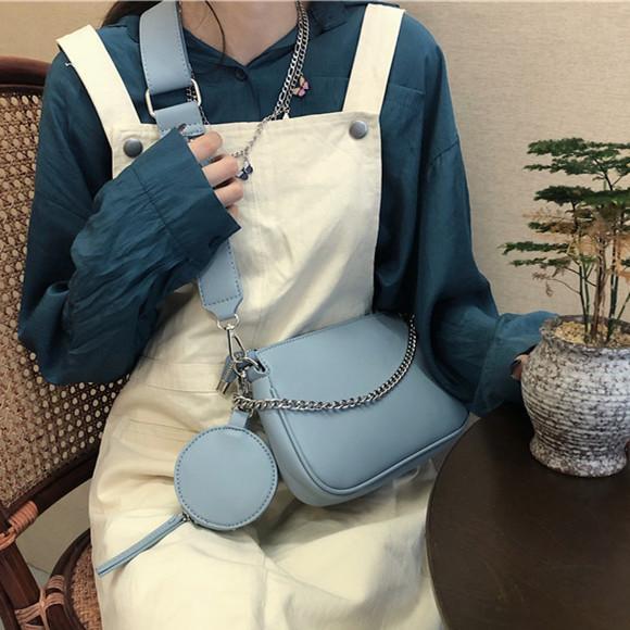 coreano estilo PU Leather Crossbody Bag Cadeia Mulheres Shoulder Bag Senhoras elegantes Bolsa e bolsa pequena azul nas axilas Mahjong