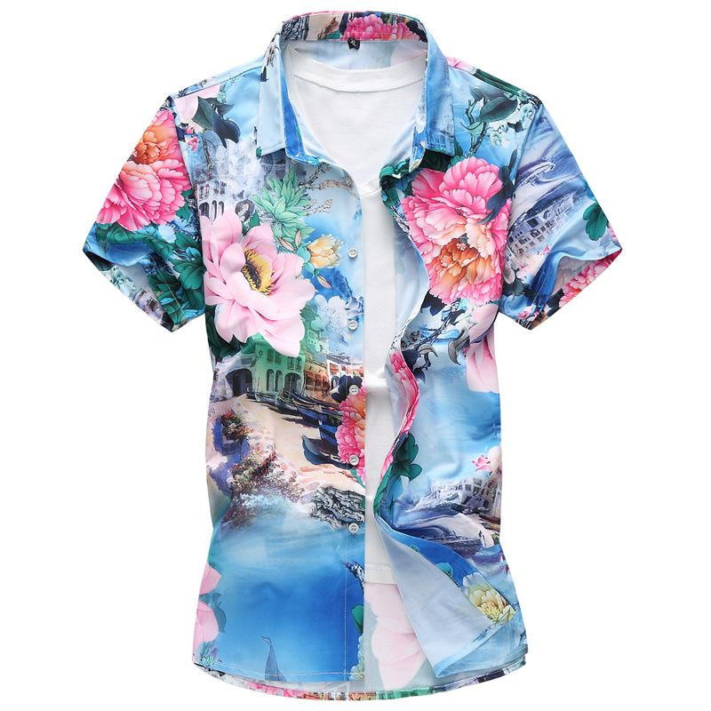 Homens Plus Size florais Camisas Único Breasted manga curta lapela Neck Camisa Casual Masculino Slim Fit Top