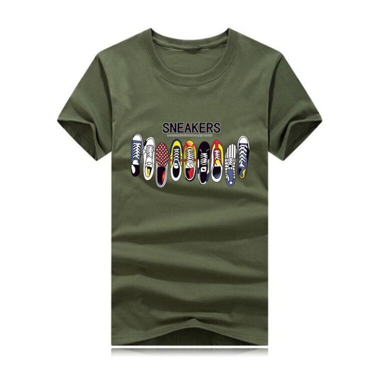Designer T-shirt dos homens camisetas Top Qualidade de Moda de Nova Maré Calçados Impresso homens camiseta T-shirt Tops Homens T-shirt múltiplo selecionável Cor