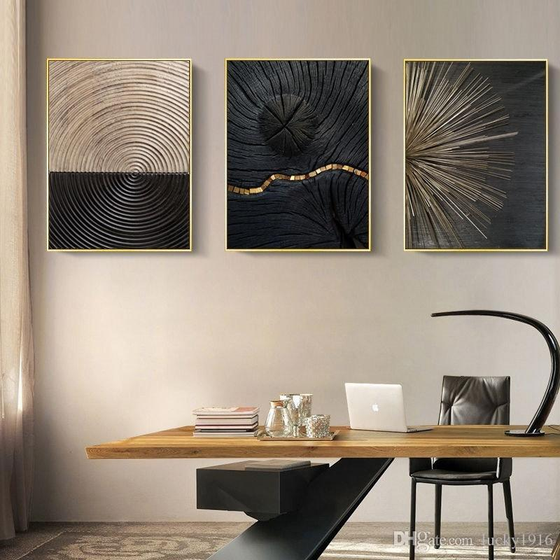 3 Panels Abstract Wood Rings Nordic Wall Art Canvas Painting Luxury Minimalist Art Poster Prints Wall Picture for Living Room Decor