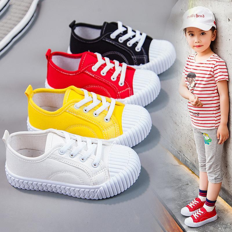 Enfants Chaussures de toile garçons Étudiants Blanc Chaussures New Girls Casual doux Bas Biscuit Enfants antidérapante Toile Flats Taille 21-38