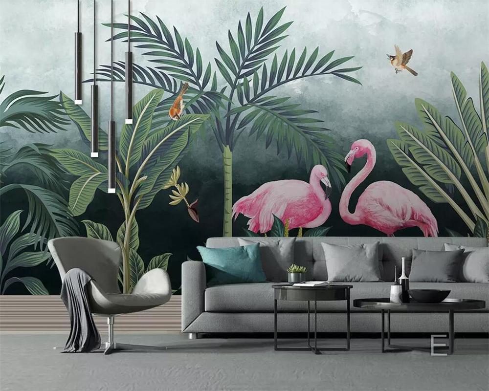 beibehang 3D Wallpaper Mittelalterliche handgemalten tropischer Regenwald Flamingo HD Wohnzimmer Schlafzimmer Hintergrund dekorative Wandbilder