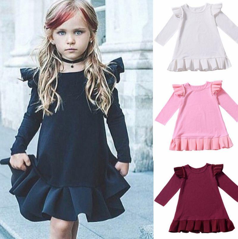 Baby-Kleider Fliegen-Hülsen-Kleinkind-Mädchen-Kleid, Kinder-Designerkleidung für Feste Mädchen Outfits Boutique Babykleidung DW4342