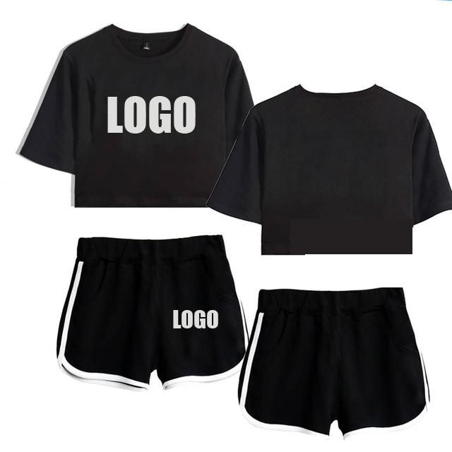 Два куска платья настроить логотип набор летний хлопок с коротким рукавом футболка 2 женских урожая + шорты сделаны 12599-TXDK