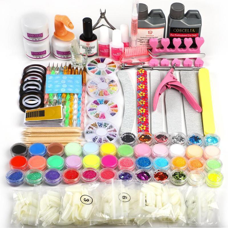 Acrílico Pó Manicure Set Nail Art Kit de ferramentas Kit de Extensão 120ML Acrílico Líquido Set prego Glitter Powder Dicas navio RU US