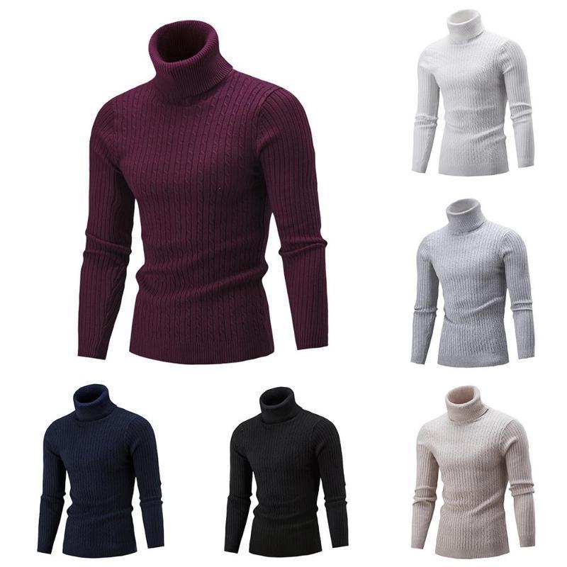2020 Maglioni uomo invernali a colori Solid Collo a coste Twist Abbigliamento Maglione Pullover dolcevita Maschio Maglioni
