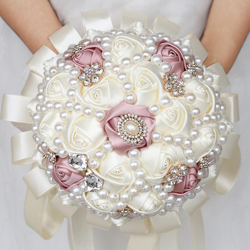 Buque De Noiva giallo avorio Hand Holding Fiori Rosa perle Birdal bouquet da sposa per Holder Bridesmaids Fiori W226-3