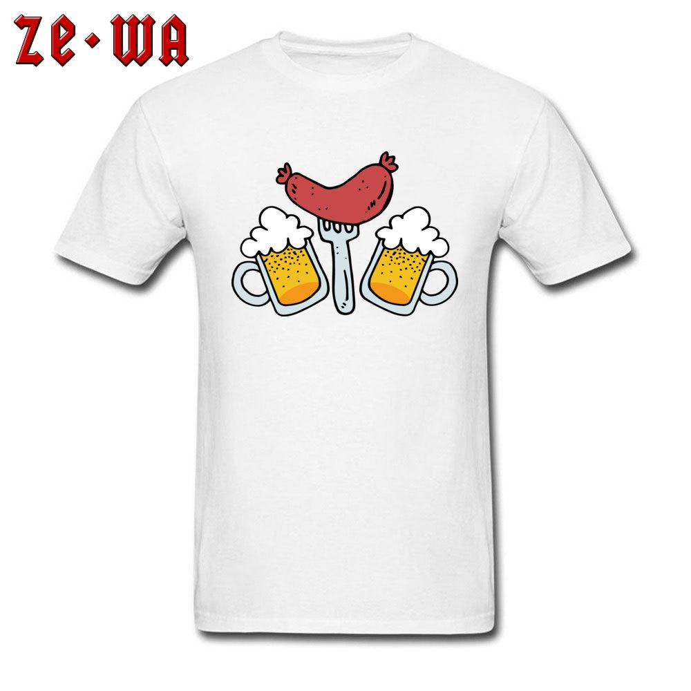 Camiseta divertida Camisetas de algodón para hombres Camisa Camiseta del perrito caliente al por mayor de desayuno Cerveza Tops historieta de la impresión ropa envío