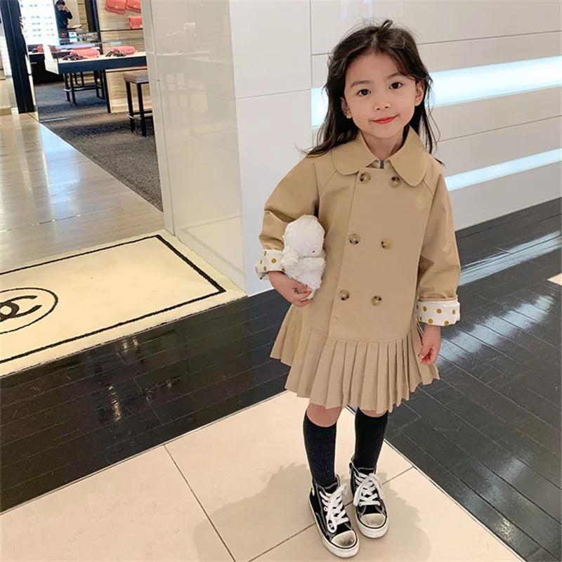 Ins neuesten kleinen Mädchen Tench Coats Baumwolle Winter stilvolle Mode Tupfen Polka Dot Outwear Herbst Fronttaschen Kinder Jungen Gilrs Mantel für 1-6t