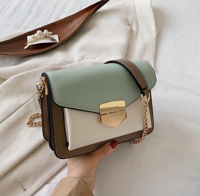 Bolsa de moda de la aleta de las mujeres del color del contraste de la cadena del bolso de hombro de la PU de la alta calidad de las mujeres pequeño bolso de mano de la muchacha del cuerpo cruzado