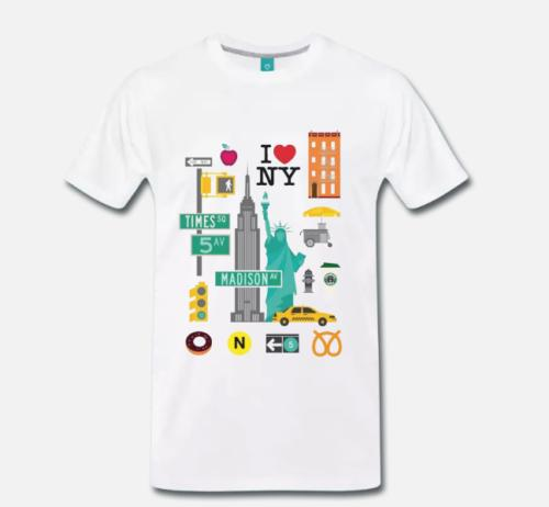 T-SHIRT ANDENKEN MAPPA NEW YORK CITY NYC GRAFIK MAPPA MAP 4 S-M-L-XL-2XL-3XL