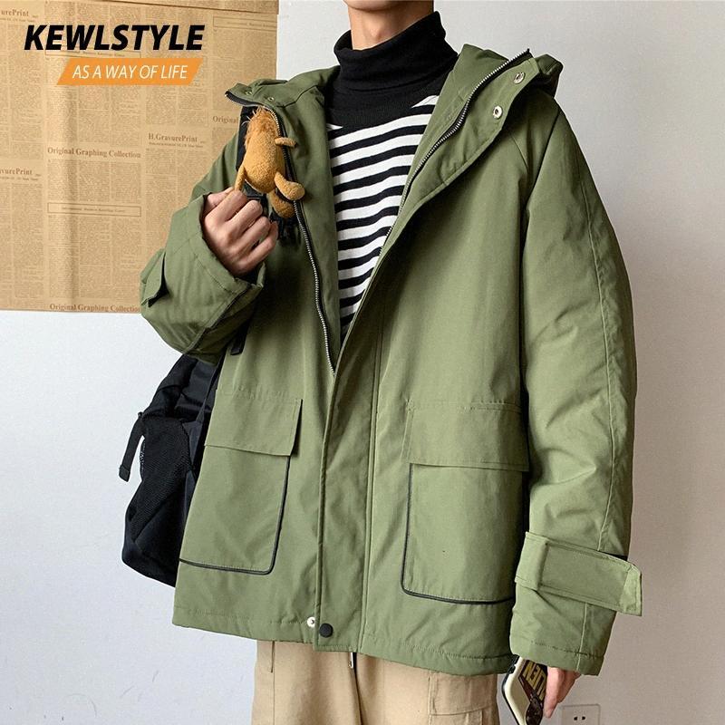 Mens inverno giacche cappotti uomini spessi caldi giacche con cappuccio parka uomini streetwear vestiti neri 2019 trench verde militare outwear PK02 YCPS #