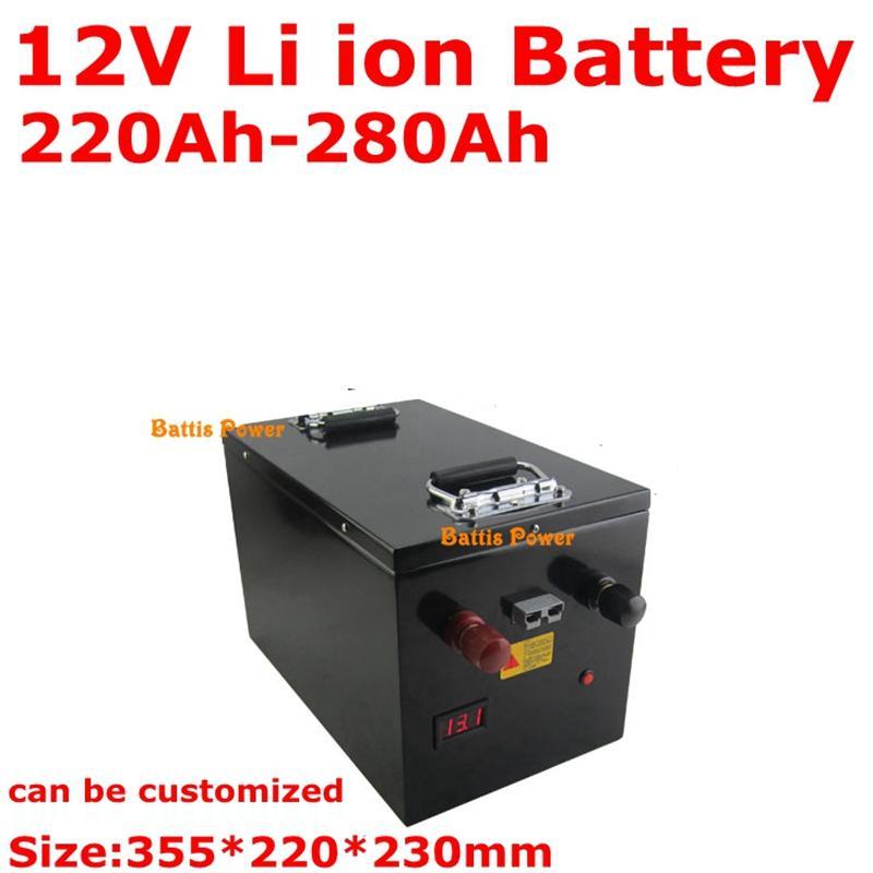 Стальной корпус большой емкости 12V 220Ah 240Ah 260Ah 280Ah литий-ионный аккумулятор с BMS для солнечной системы кэмпинга + 10A Charger
