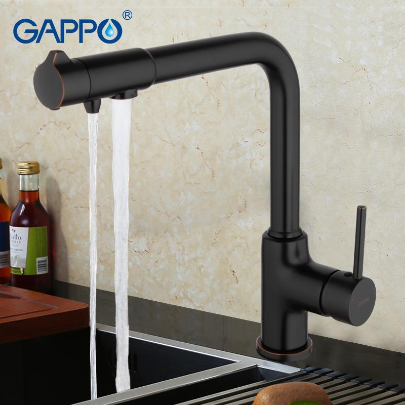 Gappo ottone antico nero rubinetto della cucina con Acqua Depuratore Rubinetto maniglia girevole da 360 gradi singolo torneira cozinha G4390-10
