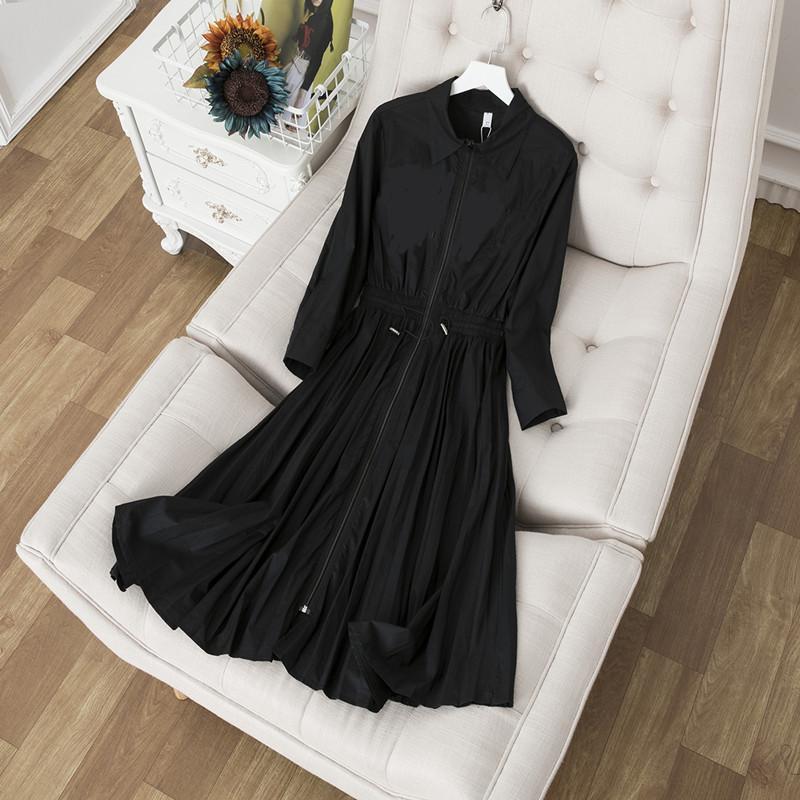 Autumn new women's letter print elastic waist zipper patchwork long sleeve color block turtleneck casual dress S M L