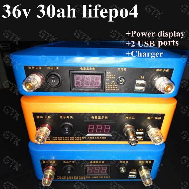 36v 30Ah lifepo4 litio pacco batteria ricaricabile con BMS per 1500w macchine bici bicicletta elettrica motorino + 3A caricatore