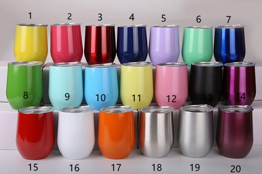12OZ الفولاذ المقاوم للصدأ بيضة بهلوان فراغ جدار مزدوج معزول القدح النبيذ القهوة مع الماء الشفاه نظارات A10