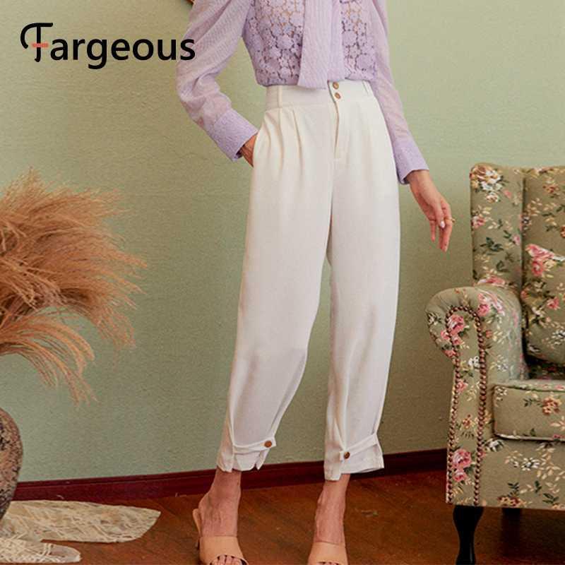 Fargeous Mulheres Sólidos calças casuais brancos 2020 calças de trabalho outono do vintage capris femininos senhoras de escritório casuais estilo calças britânicos