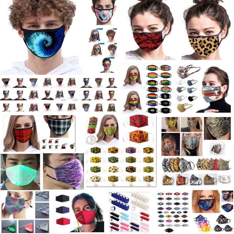Máscaras Moda Leopard impresa boca para las máscaras de las mujeres de los hombres a prueba de polvo lavable Ciclismo boca Trump a cuadros de algodón a rayas máscara protectora del HH9-3169