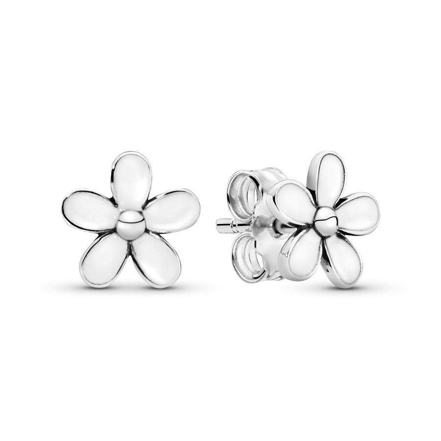 Branco esmalte flor da margarida Stud Brincos Moda Luxo desenhista da jóia autêntica 925 Mulheres de prata Sterling com caixa de presente Pandora