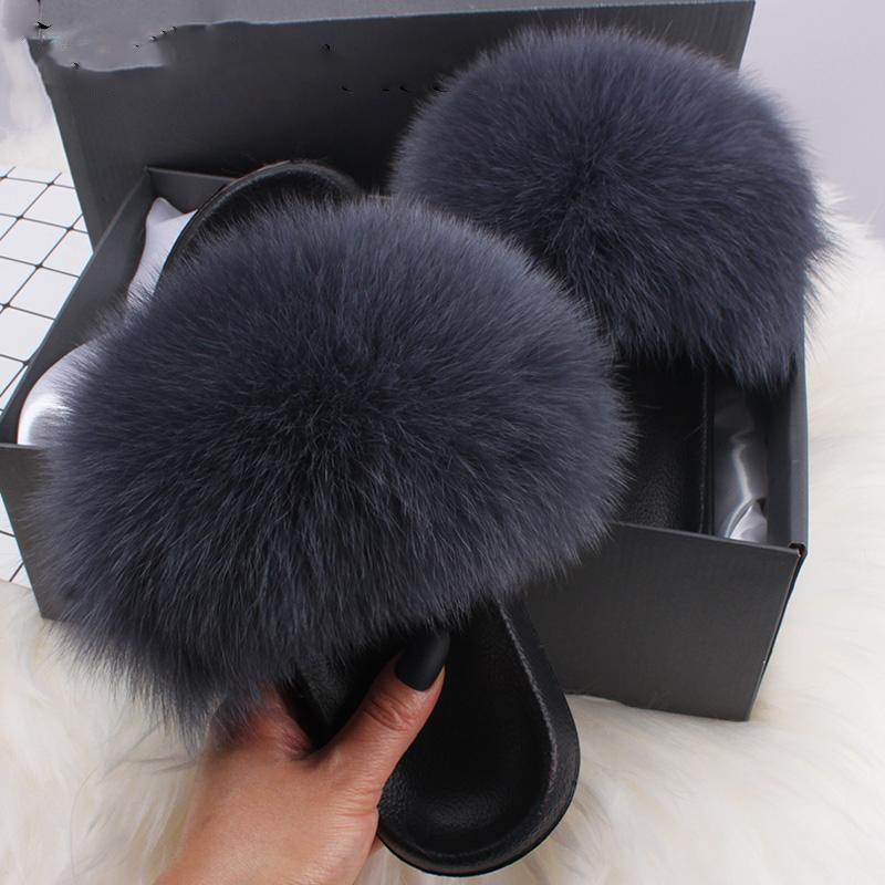 da Mulher real de 100% Raccon Fur Slipper Furry Verão Praia Chinelo Sandálias Slides exterior macio do Flop Fashion Lady