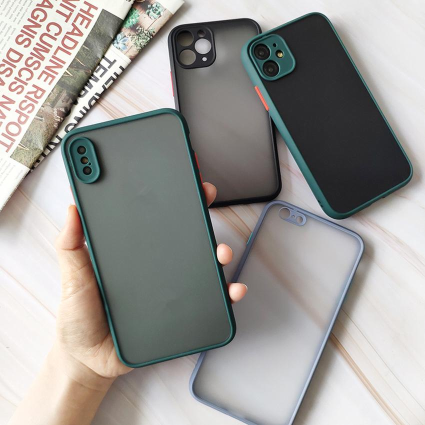 Transparent Skin Shockproof Protect Case Cover Clear Matte Hybrid PC TPU Phone Case for iPhone 11 Pro Max X XS XR 78 Plus Apple Cell Phone