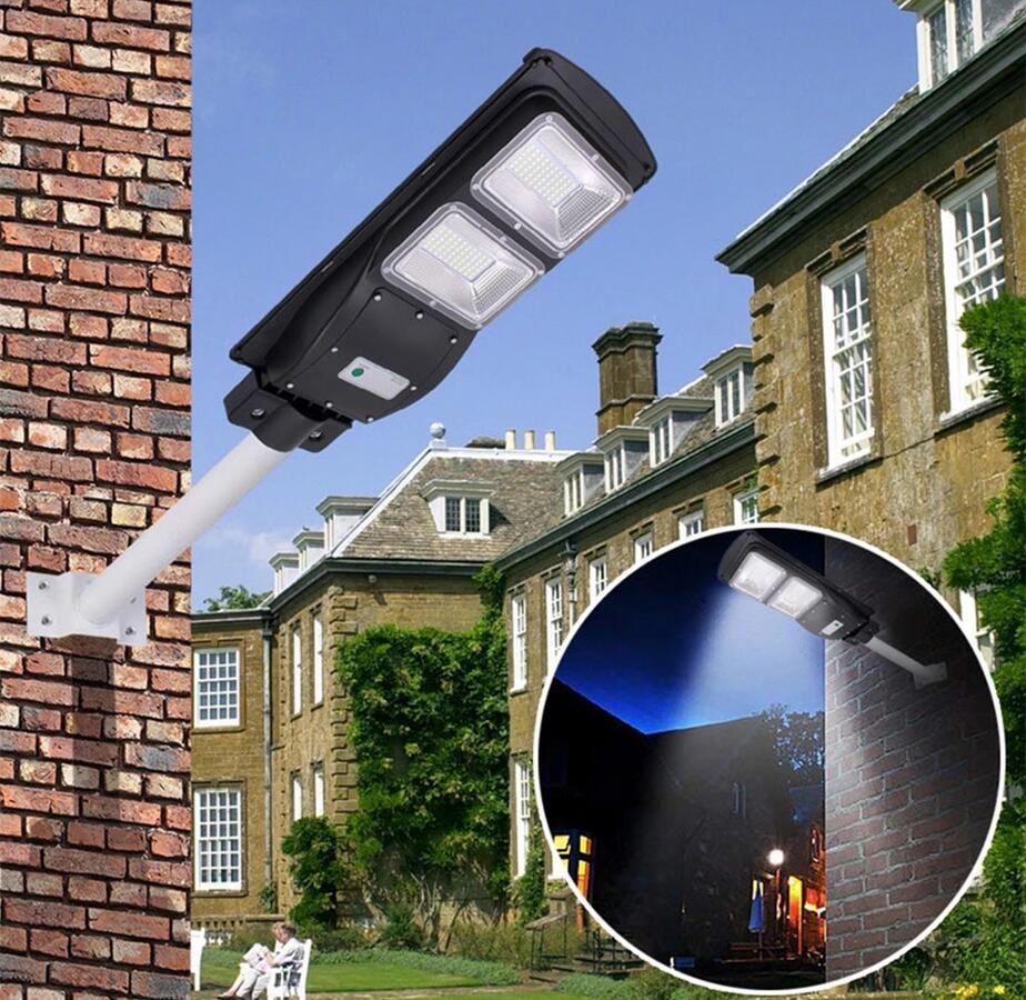 Tudo em uma luz de rua LED solar 30W / 60W / 90W LED solar luz solar lâmpada de temporização do sensor de movimento + controle remoto para o Garden da Plaza