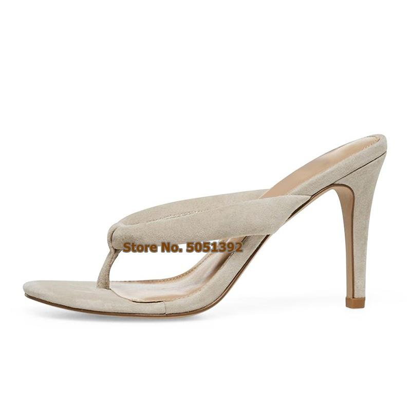 Adatti a signore della pelle scamosciata Infradito tacco alto delle donne sandali stiletto sexy della spiaggia Concise esterna pistoni di svago Plus Size