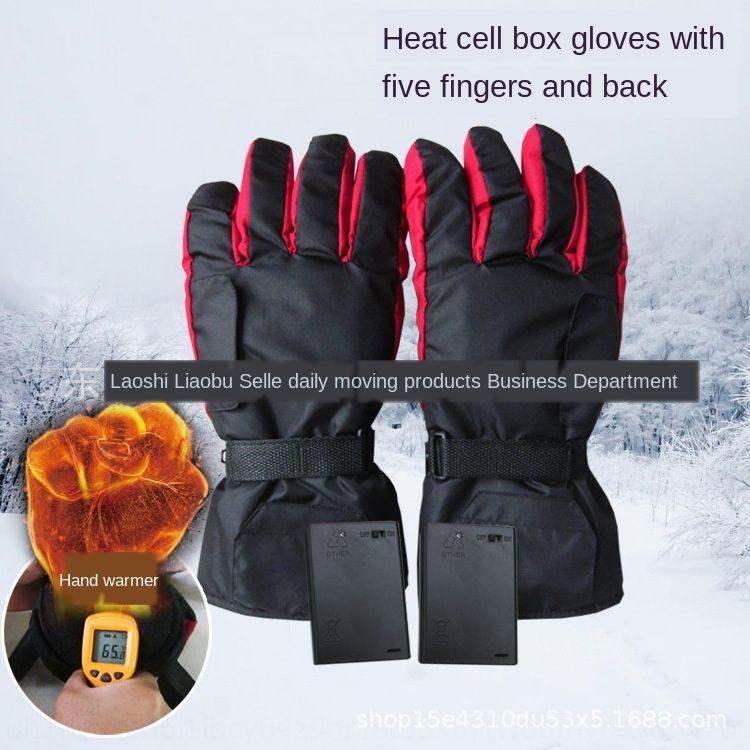 FR-014 inverno sci esterno caldi elettrici della bicicletta guanti sportivi scaldano cinque dito avanti Hot Adult guanti da ciclismo