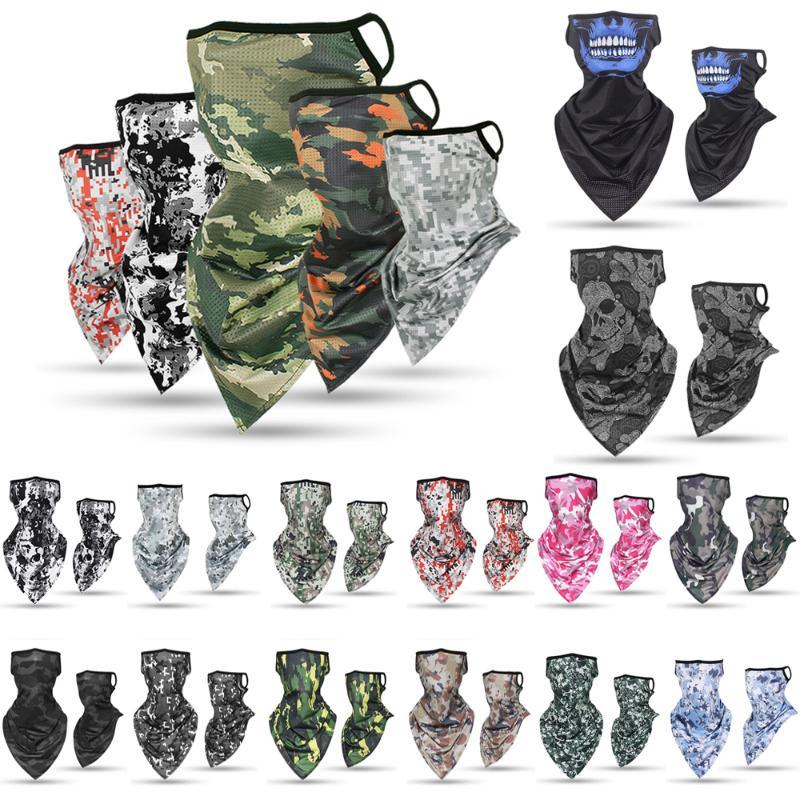 1 PC Breathable Ice Silk Ear Hanger Magic Bandana Triangle Half Face Mask Outdoor Fishing Cycling Neck Cover Scarf Wrap