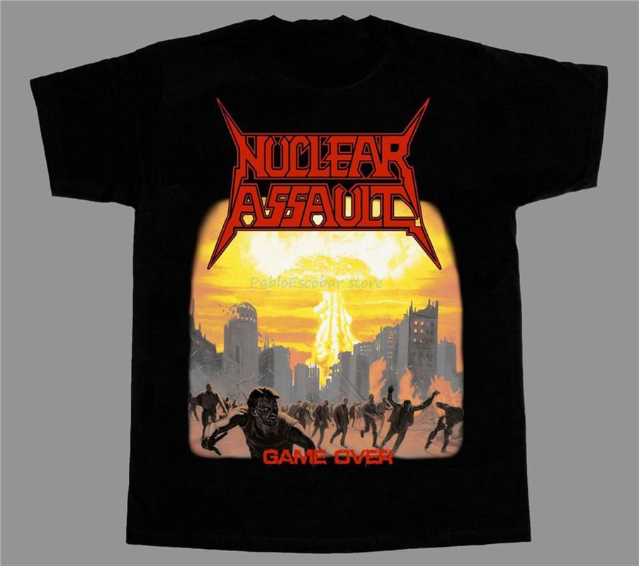 Nuclear Assault Game Over corta - a maniche lunghe nuova maglietta nera Diy prited Tee Shirt