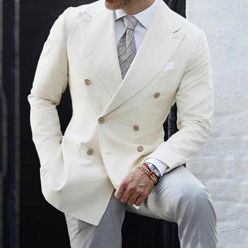 Sur mesure Double-breasted Groomsmen pic Lapel smokings marié hommes Costumes de mariage / Prom / Dîner Best Man Blazer (veste + pantalon + cravate) T134
