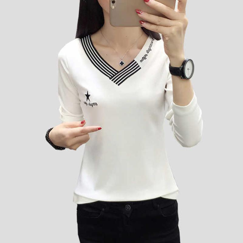 Shintimes Blusas Mujer De Moda 2020 Autumn Casual Embroidery Womens Tops And Blouses Long Sleeve V-Neck Blouse Ladies Clothes T200720