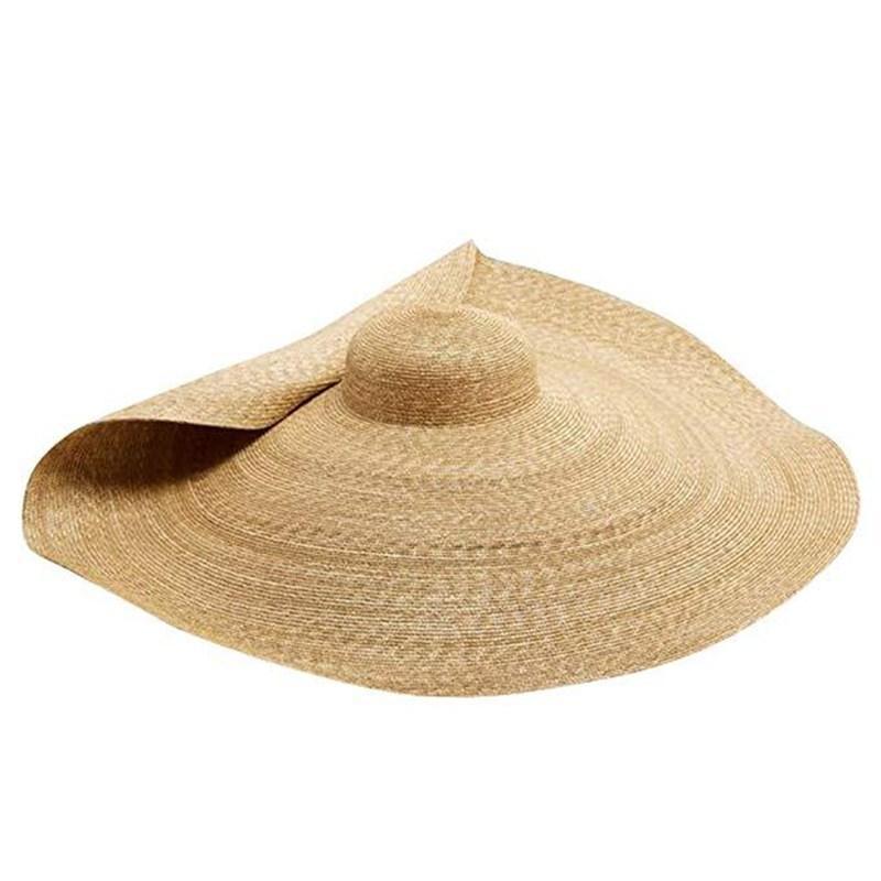 صيف جديد كبير جدا شاطئ قبعات للنساء 25CM بريم كبيرة القبعة القشية وقاية من الشمس الأزياء حزب السفر هات دروبشيبينغ Y200716