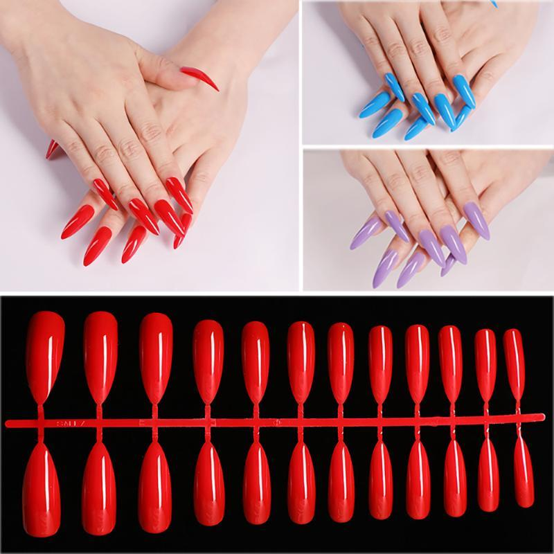 24Pcs/Sheet Acrylic Extra False Nail Tips Long Stiletto Nail Art Coffin Artificial Manicure False Tips Fake Nails Extension