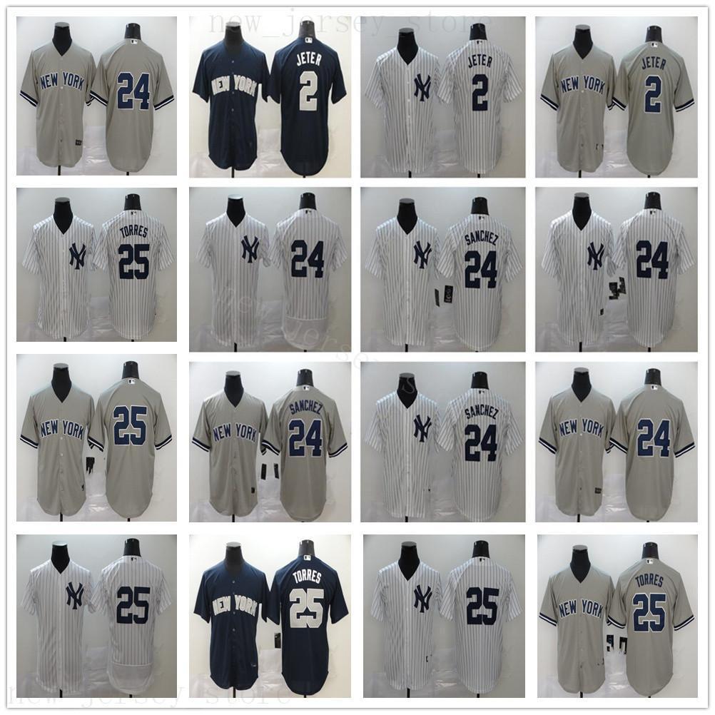 2020 Nuova stagione di baseball 24 Gary Sanchez maglie cucita 25 Gleyber Torres migliore qualità Home bianco grigio Strada Navy Jersey alternativo