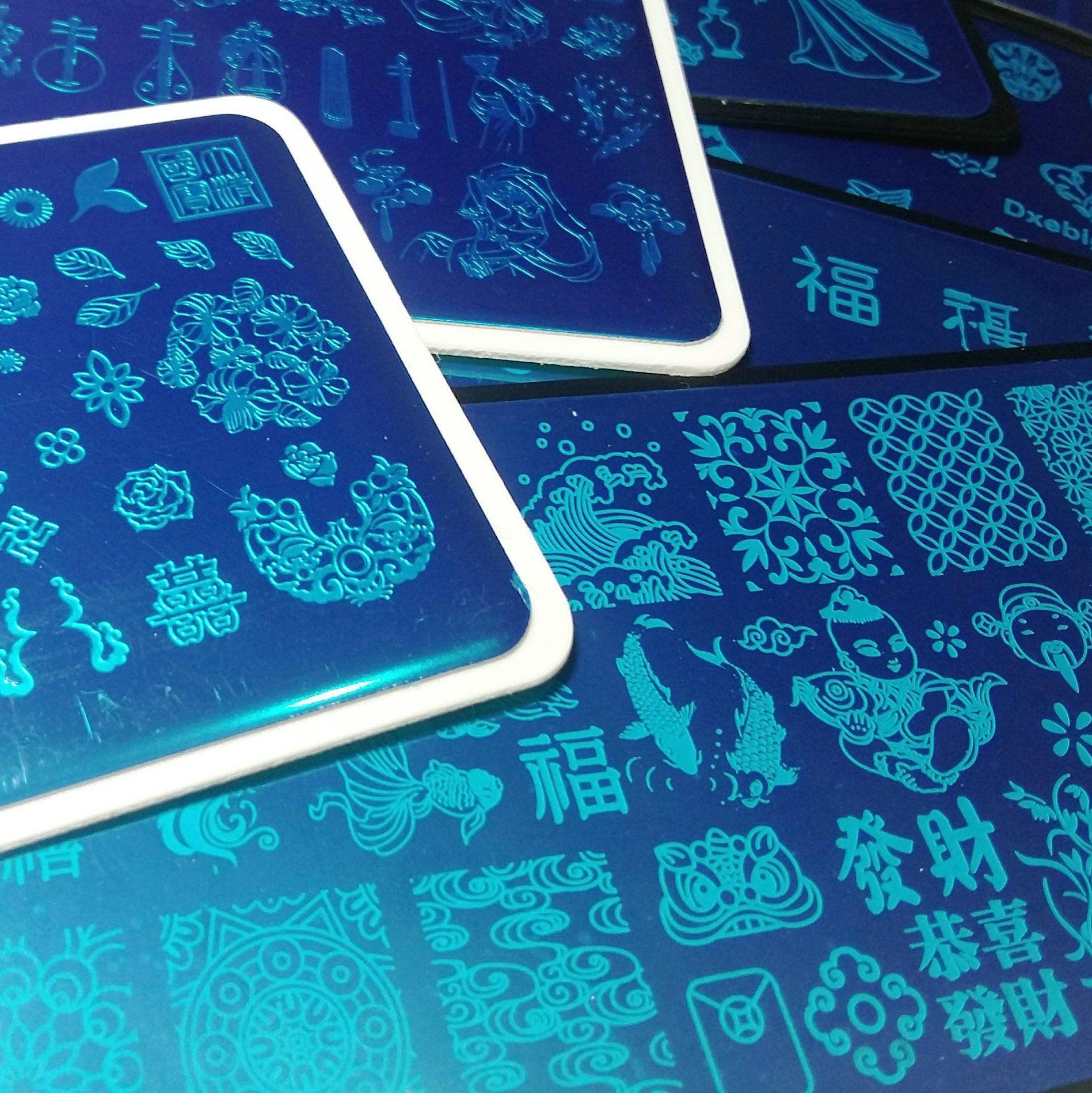 8pcs chinesischer Stil Chinoiserie China Worte Designs Nagel-Kunst-Platte Stempelplatten Französisch Bild Stencil-Transfer polnische Vorlage
