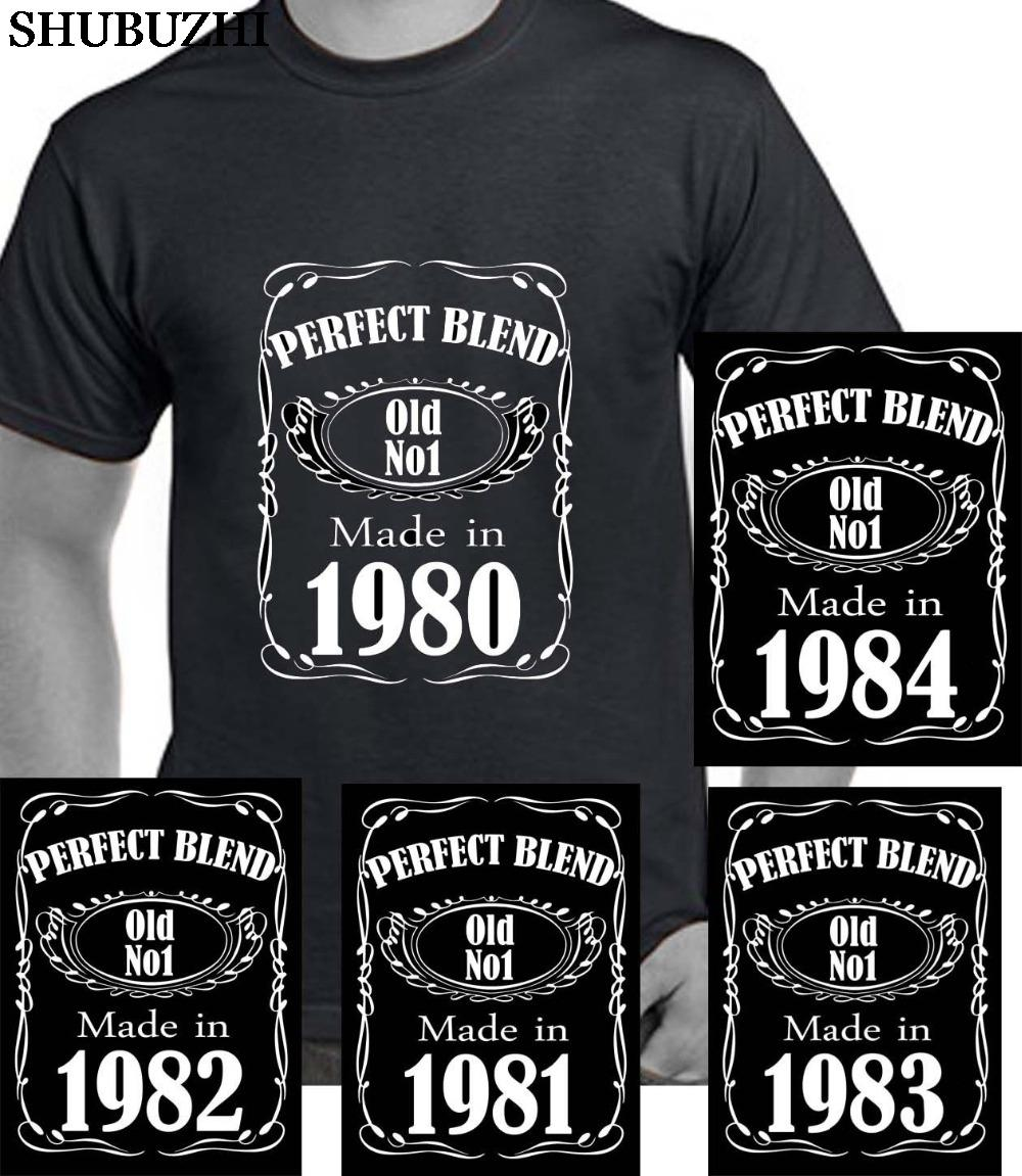 cotton O-Neck Tops Tees Men 100% Cotton 1980 1981 1982 1983 1984 Tshirt Birthday Age Year Party Gift Hip Hop Tshirts