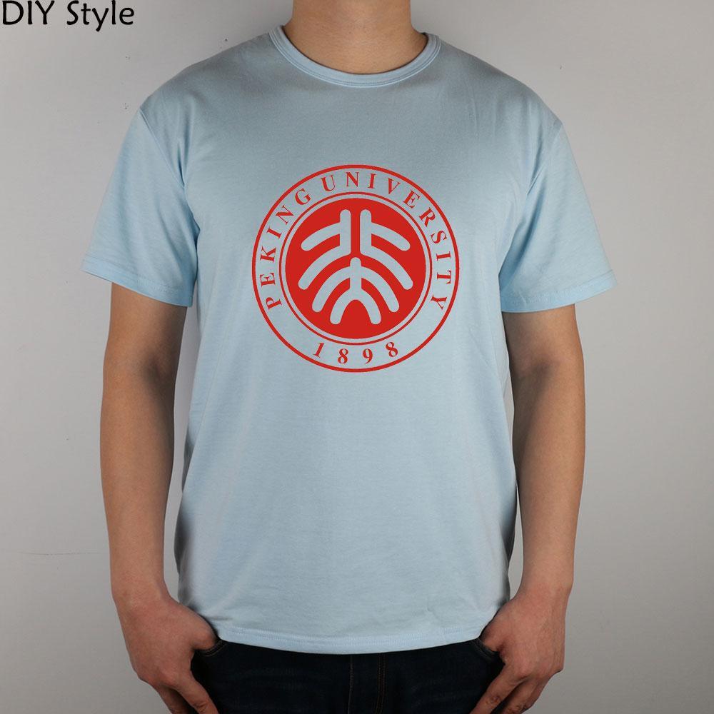 cresta Pekín Escuela Universitaria de lycra camiseta de algodón camiseta de manga corta de los hombres de la Universidad de Pekín