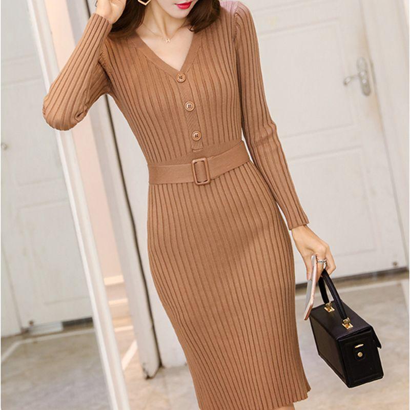 Gestrickter Gürtel Langarm Kleid Frauen 2020 Slim Bodycon Herbst Koreanische Elegante Herbst Wintertaste V-Ausschnitt Pullover Midi Ribbed Kleid