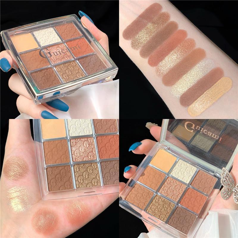 9 Renk glitter Mat Eyeshadow Palet Makyaj glitter Pigment Dumanlı Eyeshadow Palette su geçirmez Kozmetik