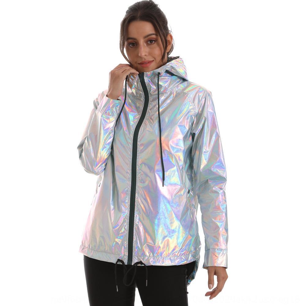 tHL1V e media lunghezza trincea fluorescente impermeabile impermeabile molla incappucciata luce Windbreaker Coat autunno donna laser cappotto